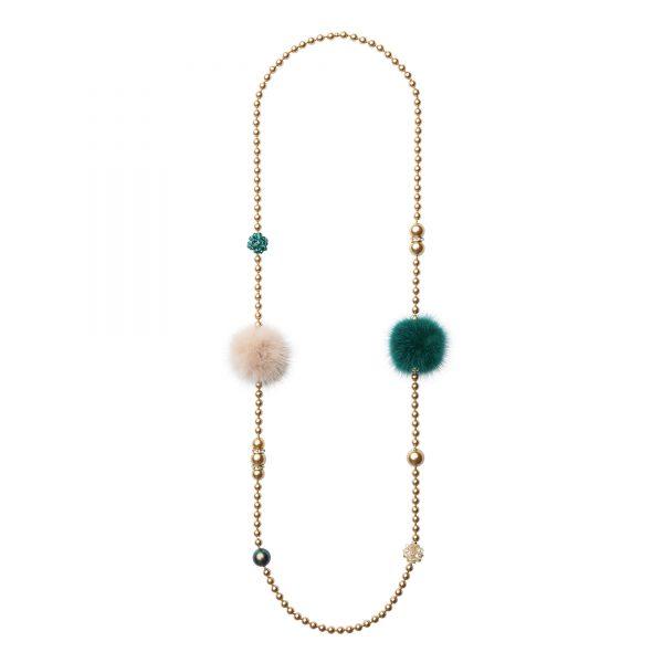 Noemi Duo náhrdelník so staro-ružovou a zelenou norkou