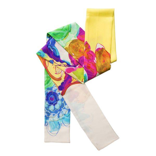 Hodvábna šatka s motívom vodové farby