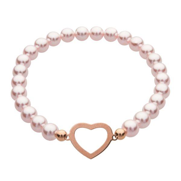 My Happines náramok Heart z ružových perál
