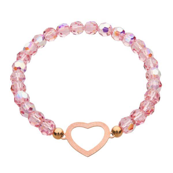 My Happiness náramok Heart z ružových kryštálikov