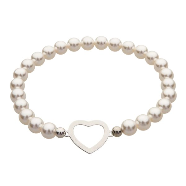 My Happiness náramok Heart z bielych perál