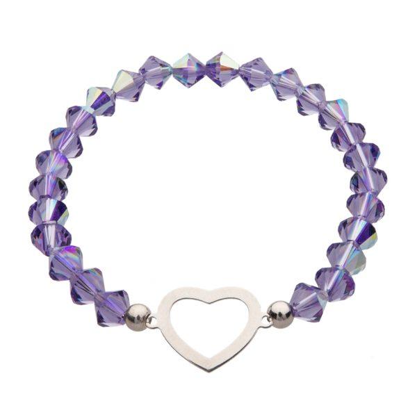 My Happiness náramok Heart z fialových kryštálikov