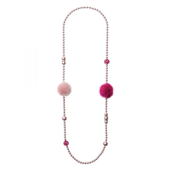 Noemi Duo náhrdelník s ružovou a fuchsia norkou
