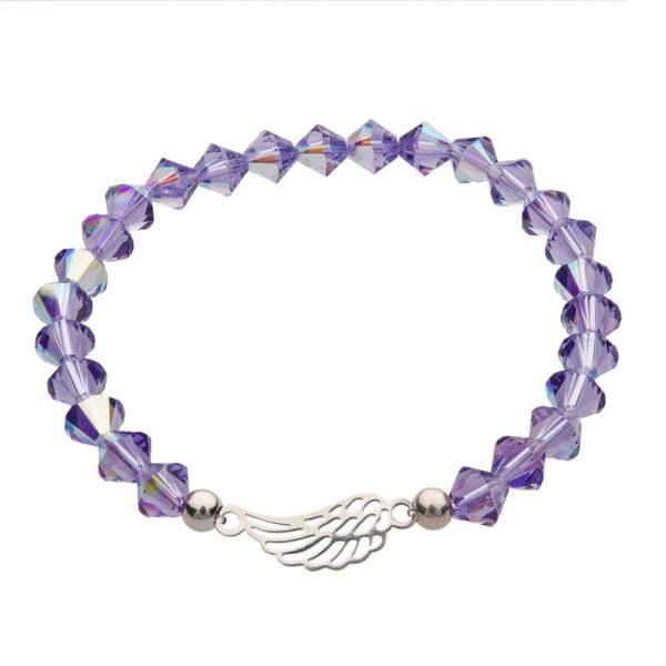 My Happiness náramok Angel Wing z fialových kryštálikov