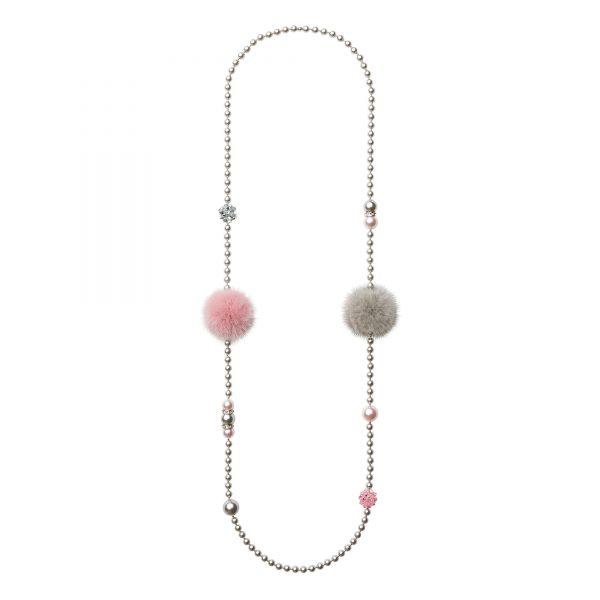 Noemi Duo náhrdelník s ružovou a sivou norkou