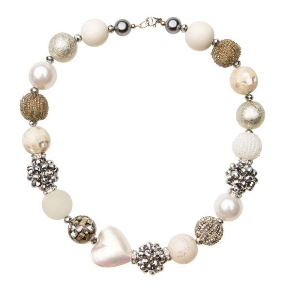 Bielo-strieborný Summer náhrdelník