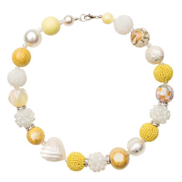 Žlto-biely Summer náhrdelník