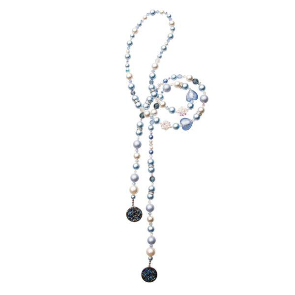 Twins náhrdelník modro-biely