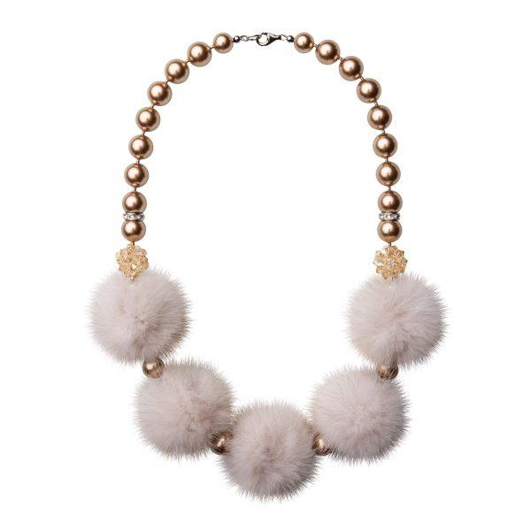 Noemi 5 náhrdelník so smotanovou norkou
