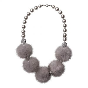 Noemi 5 náhrdelník so sivou norkou