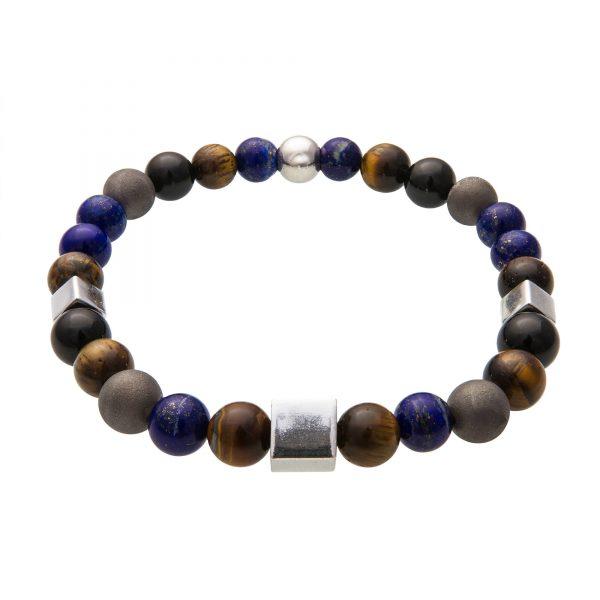Energy náramok s čiernym turmalínom, lapiz lazuli, tigrím okom a pyritom