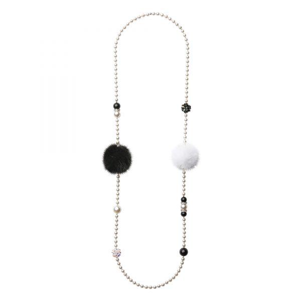 Noemi Duo náhrdelník s čiernou a bielou norkou