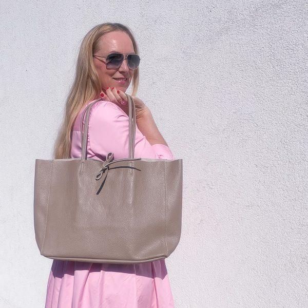 kožená kabelka Shopper svetlá hnedá
