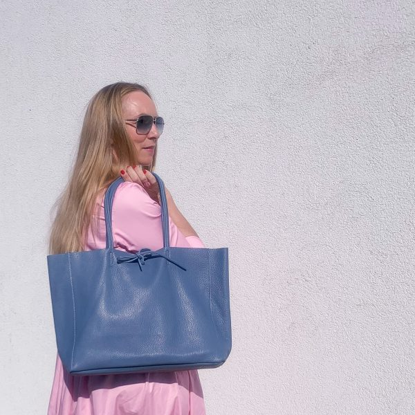 Kožená kabelka Shopper modrá