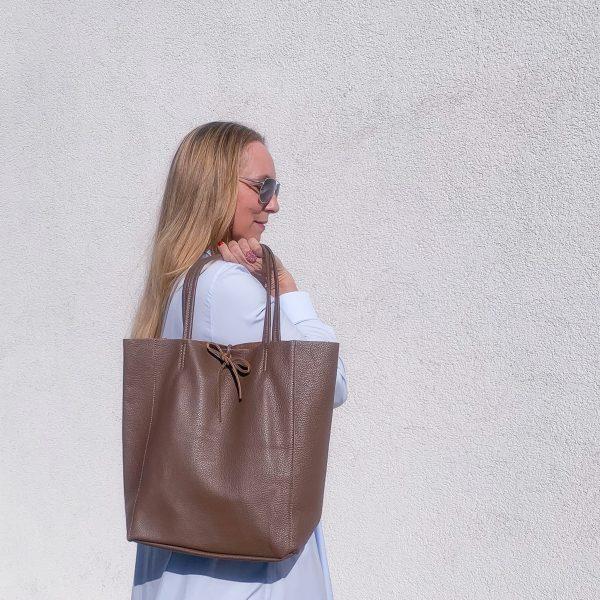 Kožená taška Shopper hnedá