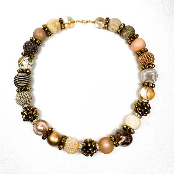 Summer big náhrdelník zlato-béžový
