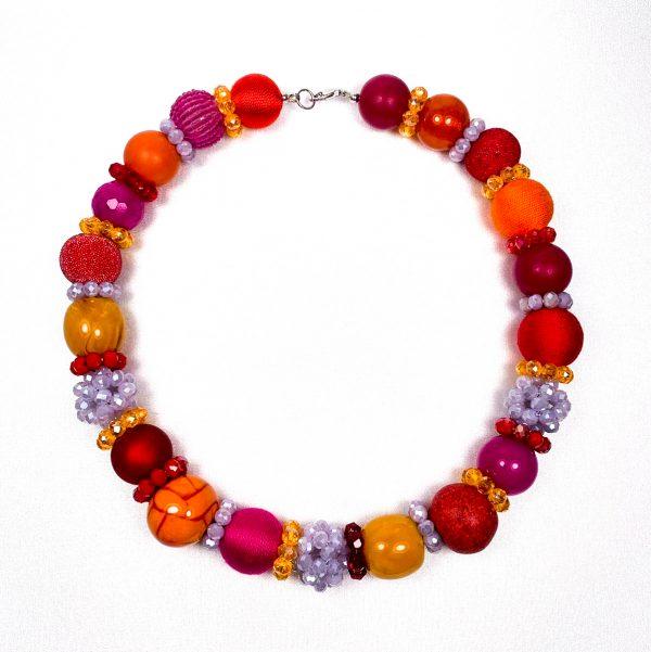 Summer big náhrdelník oranžovo-fialovo-fuchsiový