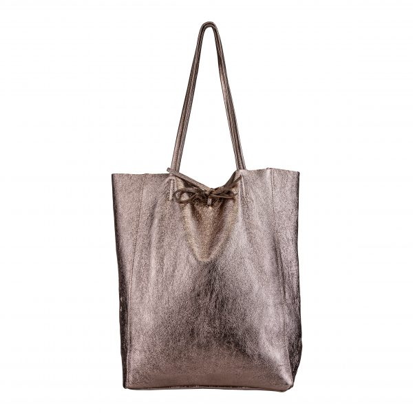 Kožená kabelka Shopper zlato-hnedá