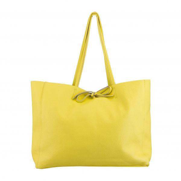 Kožená kabelka Shopper žltá