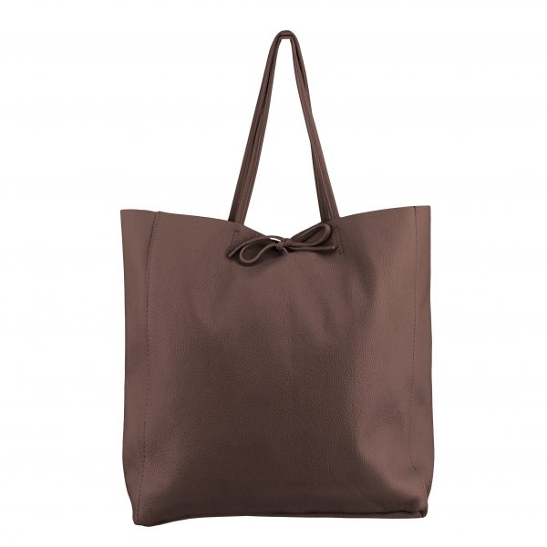 Kožená kabelka Shopper hnedá