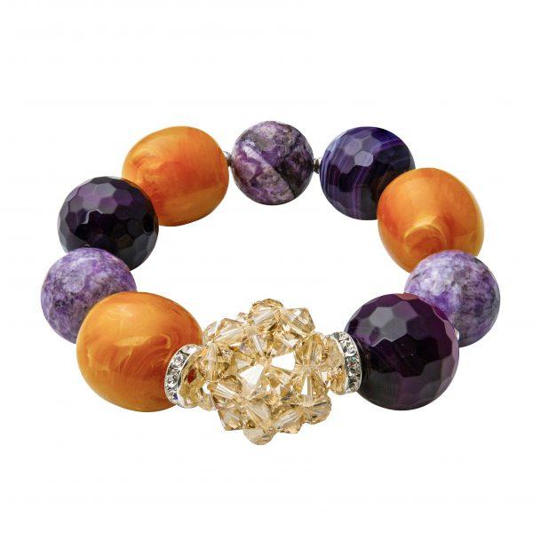 Muse náramok s polodrahokamami oranžovo-fialový