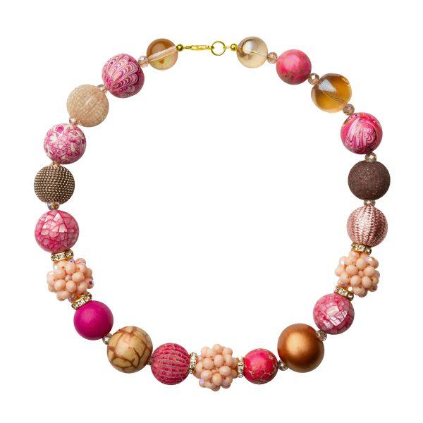 Summer náhrdelník ružovo-béžový