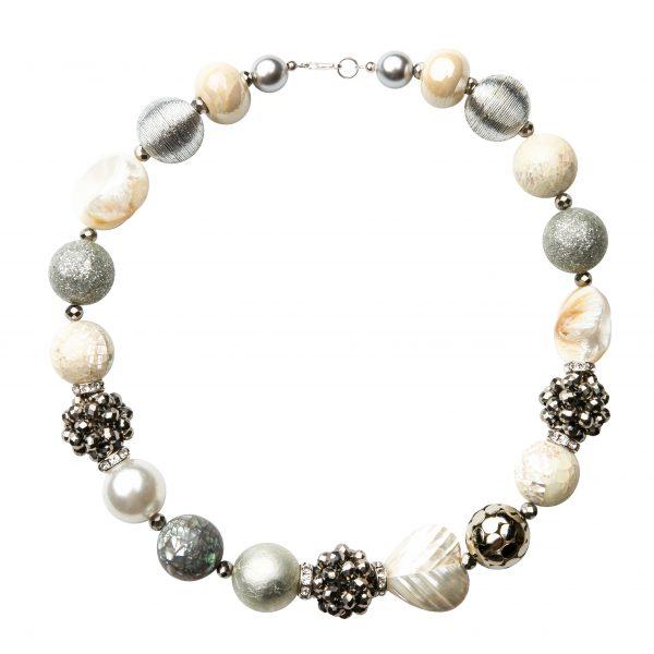Summer náhrdelník bielo-strieborný