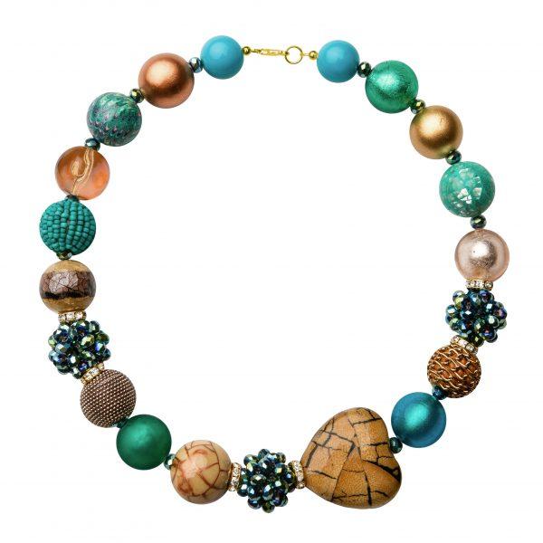 Summer náhrdelník zeleno-zlato-béžový
