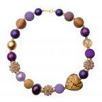Summer náhrdelník fialovo-zlato-béžový
