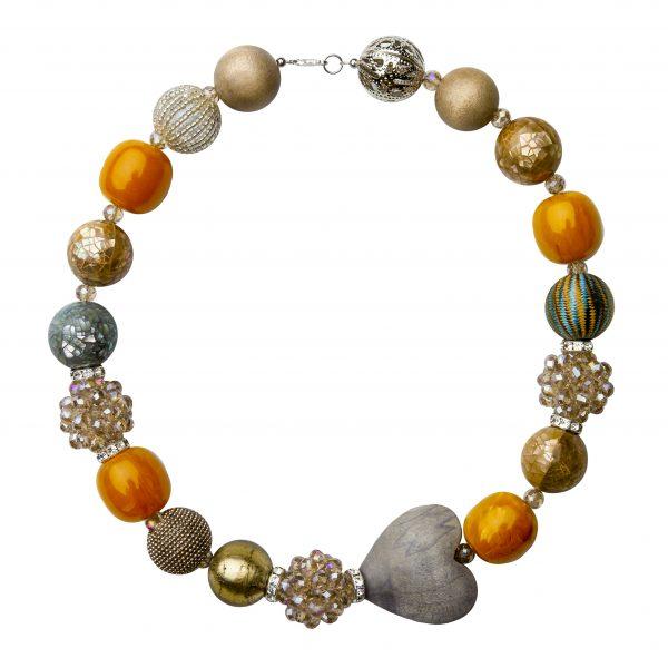 Summer náhrdelník hnedo-oranžový