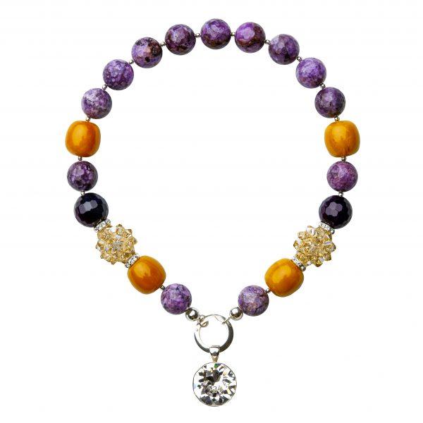 Muse náhrdelník s polodrahokamami oranžovo-fialový