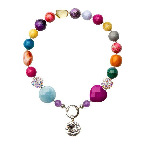 Muse náhrdelník s polodrahokamami farebný