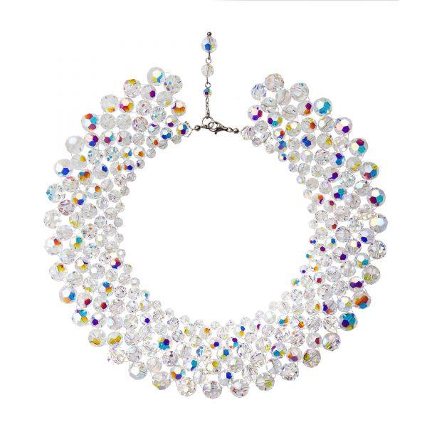 Audrey náhrdelník so Swarovski krištáľmi v bielej farbe s odleskami sedemradový