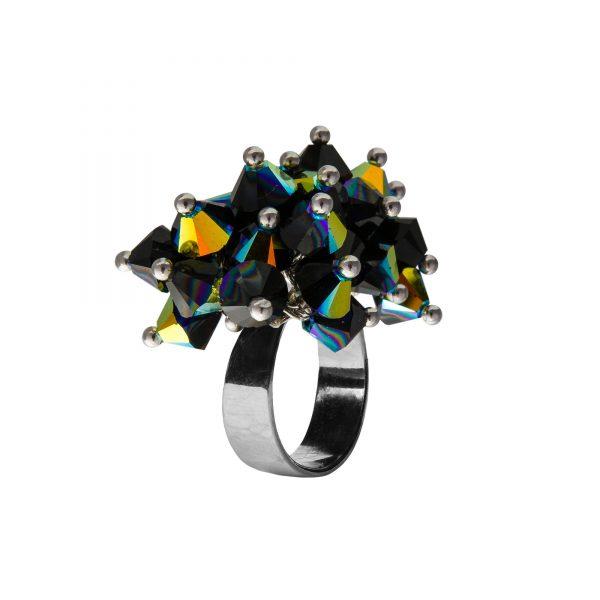 Star prsteň čierny s dvojitými odleskami