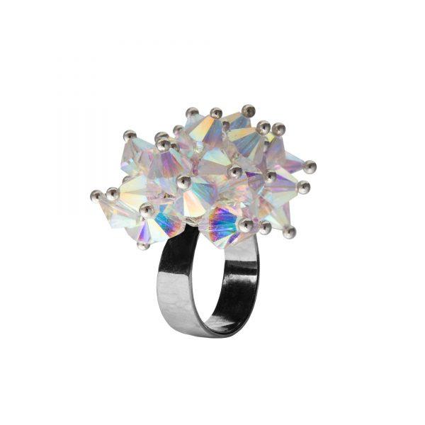 Star prsteň biely s dvojitými odleskami