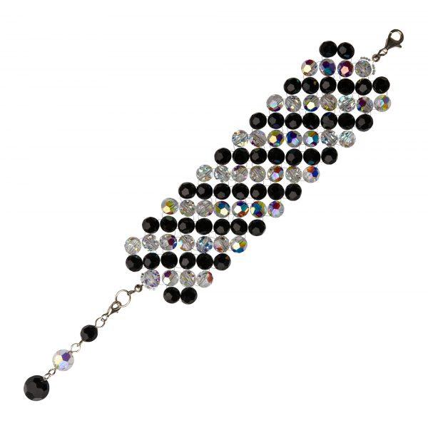 Audrey náramok s krištáľmi v čiernej a bielej farbe s odleskami