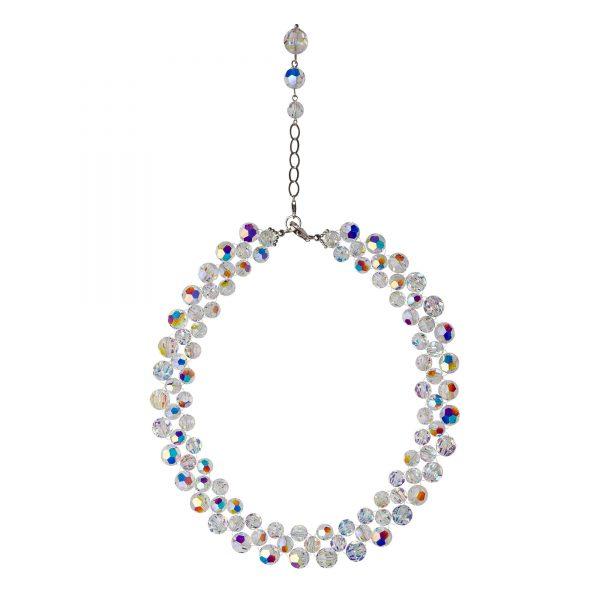 Audrey náhrdelník so Swarovski krištáľmi v bielej farbe s odleskami trojradový