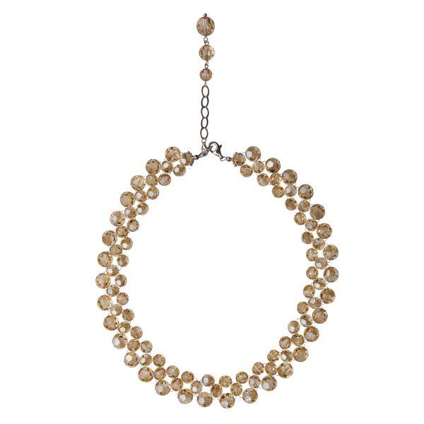 Audrey náhrdelník so Swarovski krištáľmi v zlatistej farbe trojradový