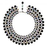 Audrey náhrdelník so Swarovski krištáľmi čiernej a bielej farby s odleskami sedemradový