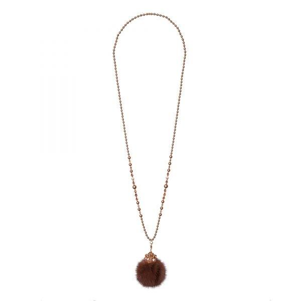 Noemi One náhrdelník s hnedou norkou