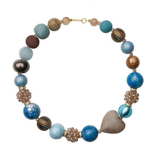 Summer náhrdelník modro-hnedý