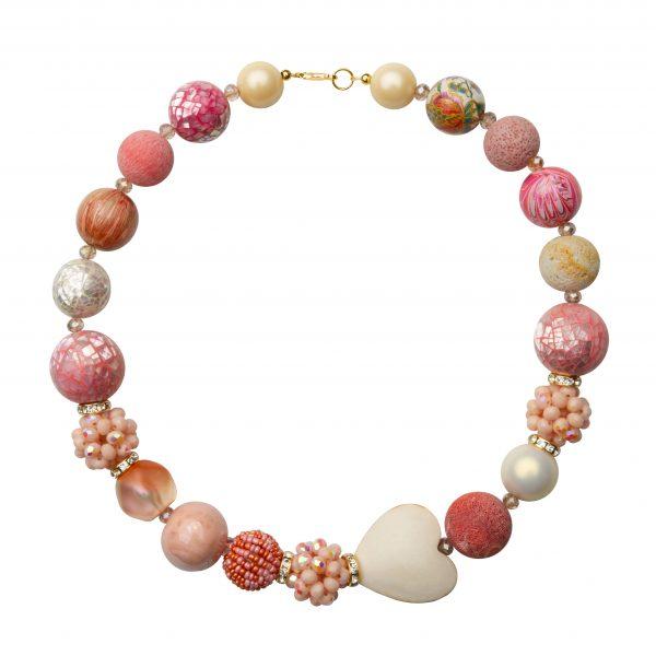 Summer náhrdelník staro-ružovo-biely