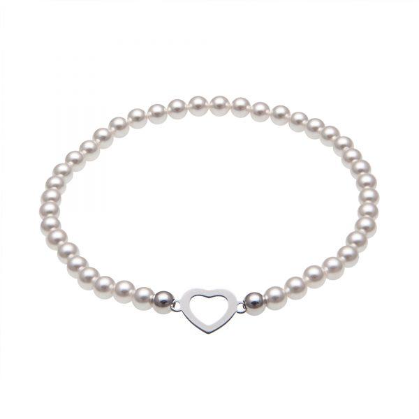 Náramok My Happiness mini Heart z bielych perál