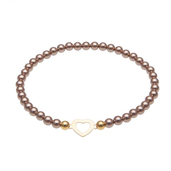 My Happiness mini náramok Heart zo zlatých perál