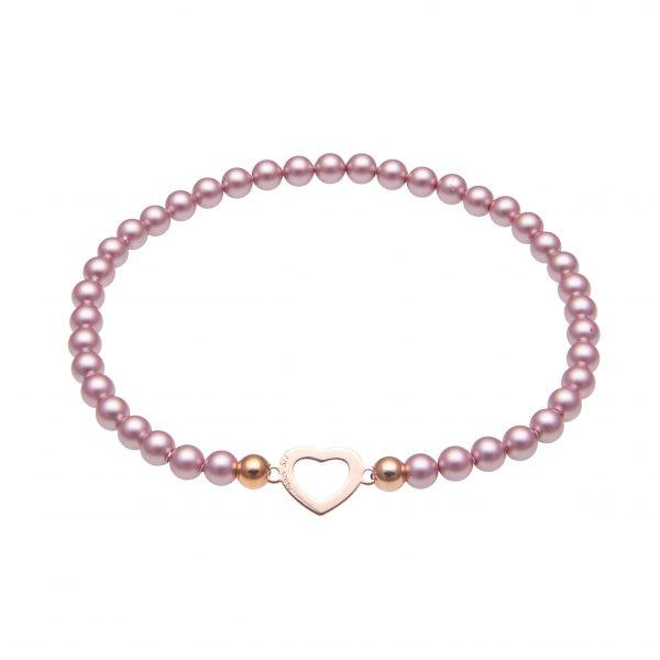 Náramok My Happiness mini Heart z ružových matných perál