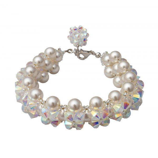 Audrey naramok z bielych Swarovski peral a kristalov