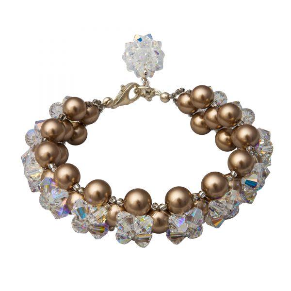 Audrey naramok s perlami bronzovy