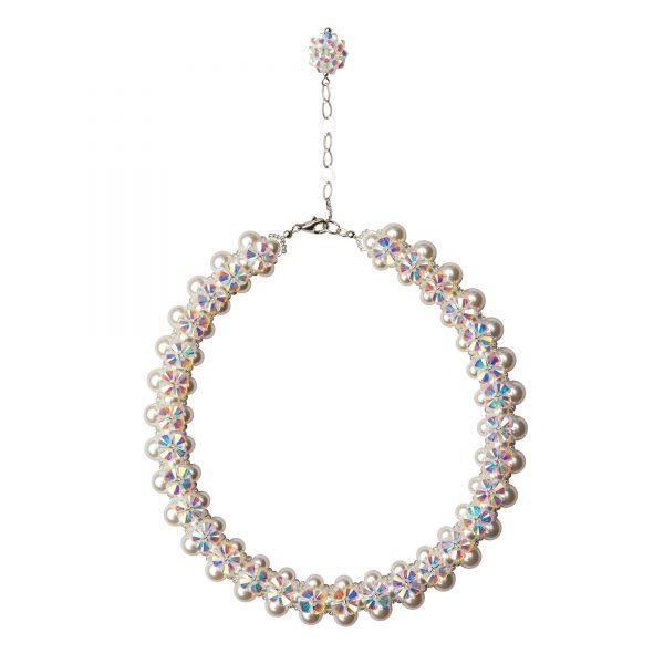 Audrey nahrdelnik s bielymi Swarovski perlami a kristalmi