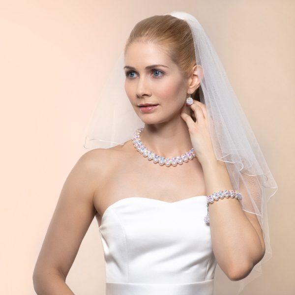 Audrey set biele Swarovski perly a kristal