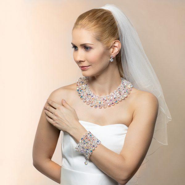 Audrey set kristal biely sedemradovy